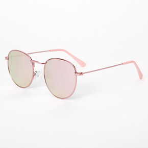 Metallic Round Sunglasses - Pink,