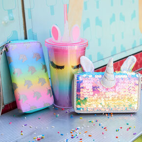 Rainbow Holographic Sequin Unicorn Wristlet,
