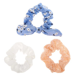 Small Pastel Floral Lace Knotted Bow Hair Scrunchies - 3 Pack,