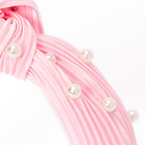 Claire's Club Pearl Pleated Knotted Headband - White,