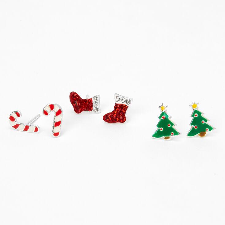 Sterling Silver Christmas Spirit Stud Earrings - 3 Pack,