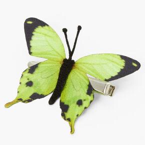 Barrette avec papillon vert,