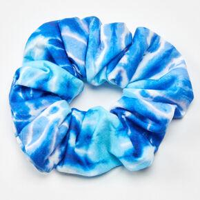 Chouchou tie-dye eaux bleues,