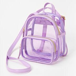 Mini sac à dos à bordure violette - Transparent,
