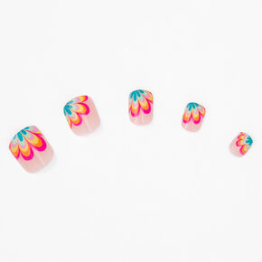 Rainbow Flower Square Press On Faux Nail Set - 24 Pack,