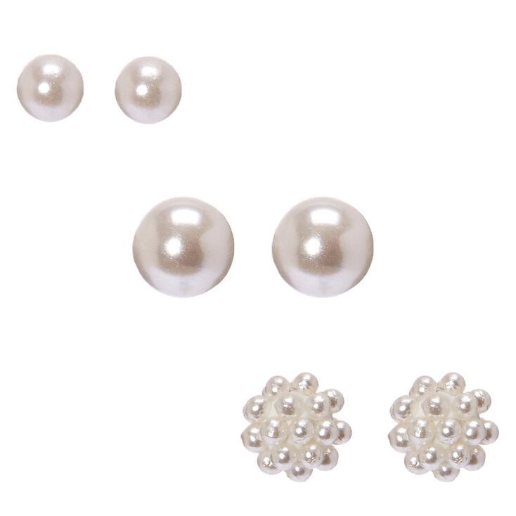 Sterling Silver Ivory Pearl Stud Earrings
