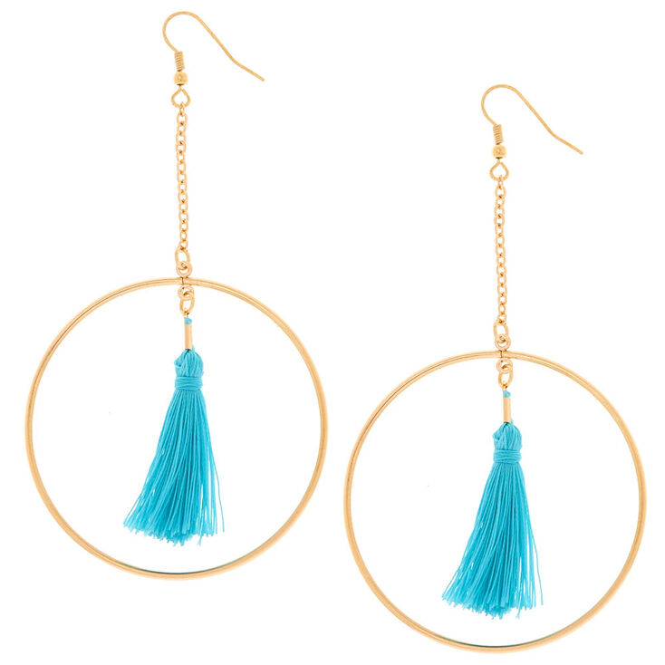 Gold Turquoise Tassel Circle Drop Earrings,