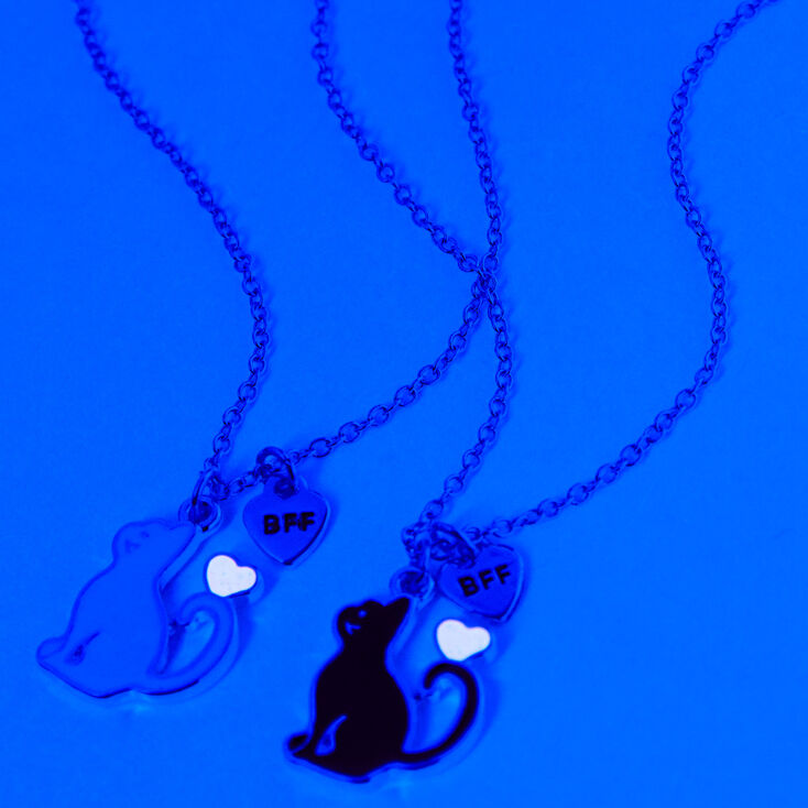 Best Friends Glow in the Dark Cat Pendant Necklaces - 2 Pack,