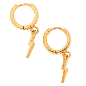 Go to Product: 18kt Gold Plated 10MM Lightening Bolt Hoop Earrings from Claires