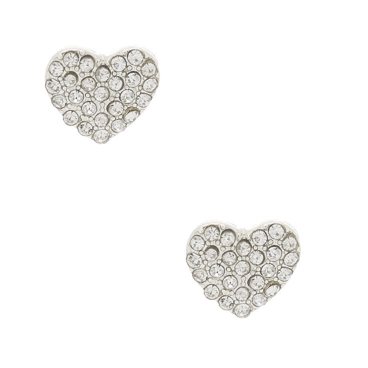 Silver Crystal Heart Stud Earrings,