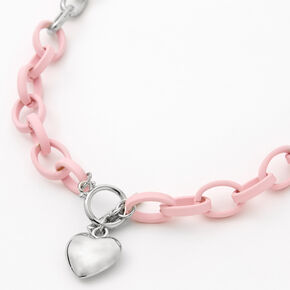 Silver Heart Rubber Chain Necklace - Pink,