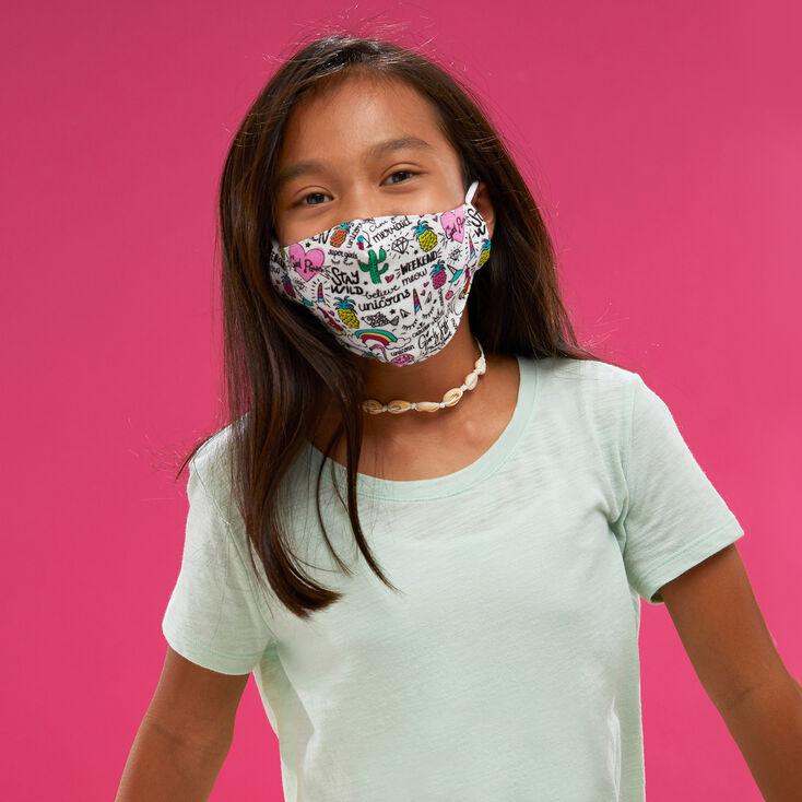 Cotton White Doodle Print Face Mask – Child Medium/Large,