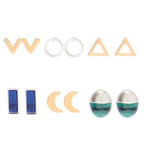 Mixed Metal Celestial Shape Stud Earrings - 6 Pack,