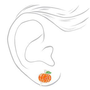 Clous d'oreilles à clip citrouille à paillettes couleur argentée - Orange,