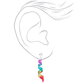 "Silver 1"" Rainbow Spiral Clip On Drop Earrings,"
