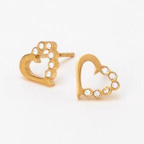 Clous d'oreilles cœur demi-strass couleur dorée et couleur titanée,