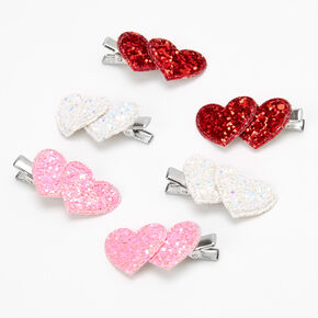 Sequin Double Hearts Hair Clips - 6 Pack,
