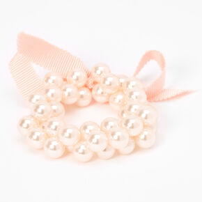 Claire's Club Ribbon Pearl Stretch Bracelet - Blush Pink,