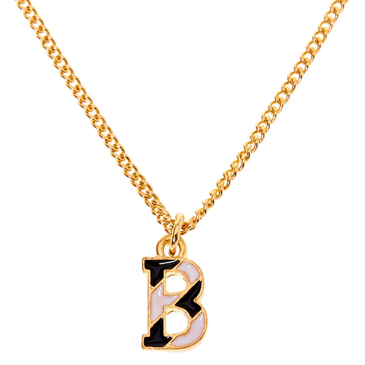 Gold Striped Initial Pendant Necklace - B,