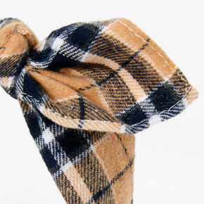 Black & Tan Plaid Knotted Bow Headband,