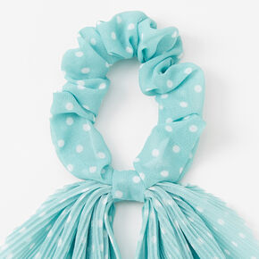 Small Polka Dot Pleated Scarf Hair Scrunchie - Mint,