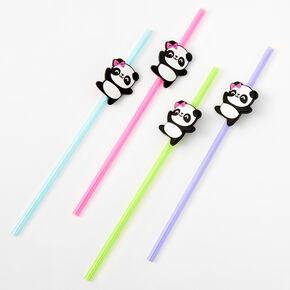 Rainbow Plastic Panda Straws - 4 Pack,
