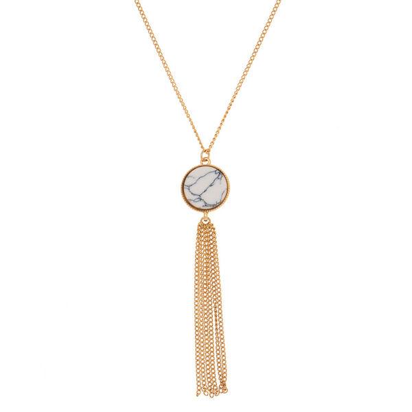 Claire's - gold marble long pendant necklace - 1