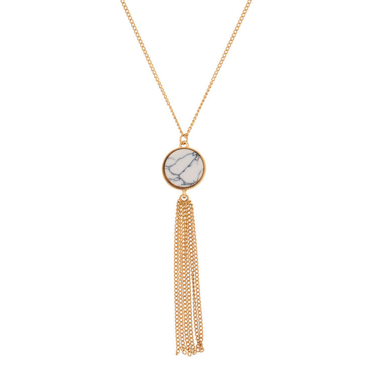 gold marble long pendant necklace white claire s us