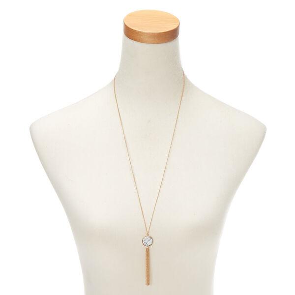 Claire's - gold marble long pendant necklace - 2