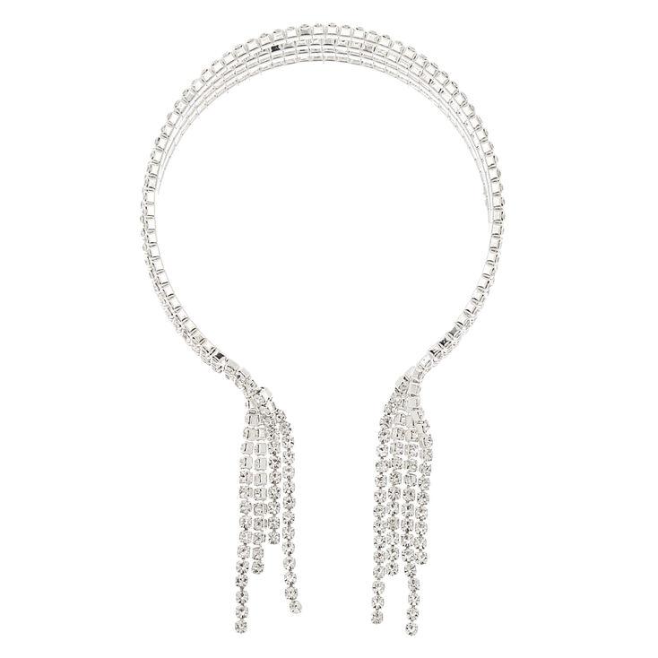 Silver Rhinestone Stacked Fringe Cuff Bracelet,