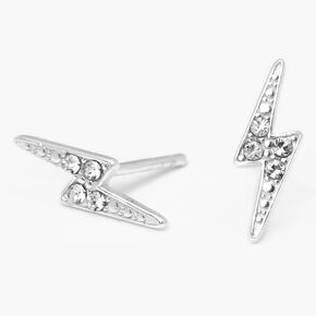 Sterling Silver Crystal Lightning Bolt Stud Earrings,