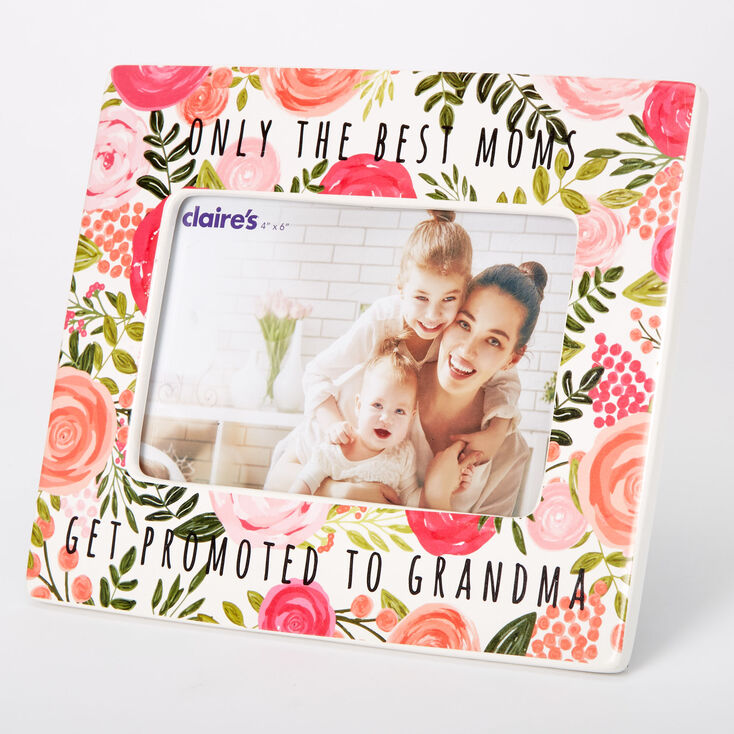 Promoted To Grandma Floral Photo Frame - Pink,