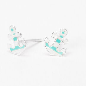 Sterling Silver Striped Anchor Stud Earrings,