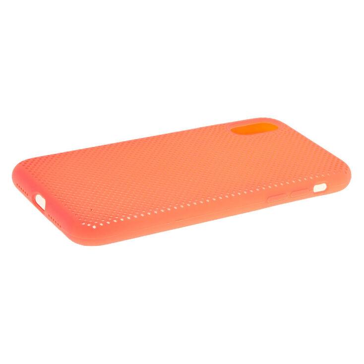 Coque de portable style perforé corail fluo - Compatible avec iPhone XR,