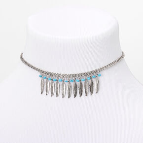 Silver Beaded Feather Choker Necklace - Turquoise,