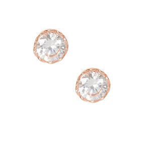 18ct Gold Plated Cubic Zirconia Heart Rimmed Earrings,