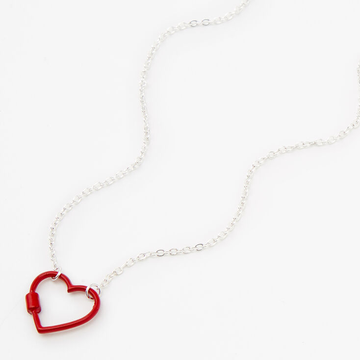 Silver Carabiner Heart Pendant Necklace - Red,