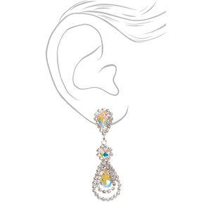 """Silver 2"""" Rhinestone Teardrop Petal Drop Earrings,"""