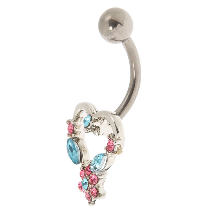 Titanium Silver 14g Heart Belly Ring Pink