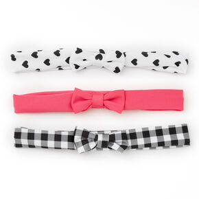 Claire's Club Heart & Plaid Bow Headwraps - 3 Pack,