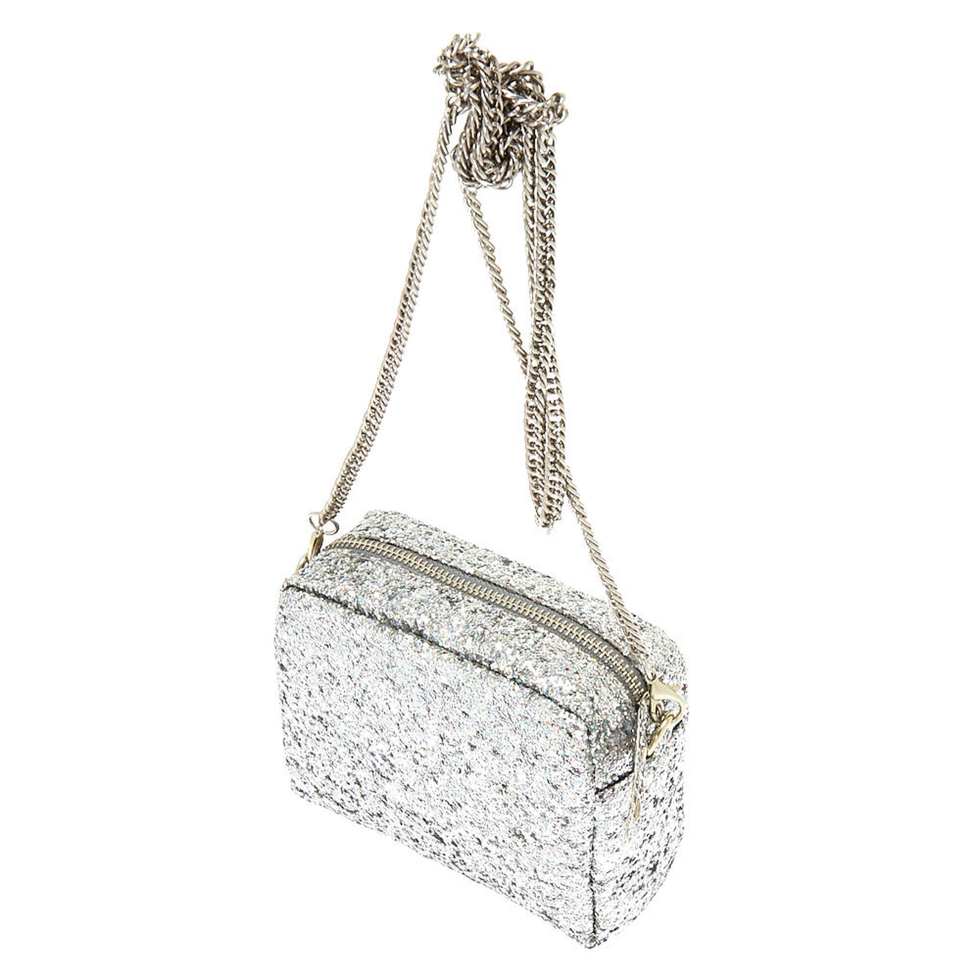 6e6cba2328 ... Mini Holographic Glitter Crossbody Bag - Silver