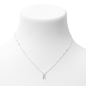 Silver Half Stone Initial Pendant Necklace - K,