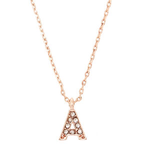 Rose Gold Embellished Initial Pendant Necklace - A,