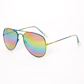 Metallic Rainbow Aviator Sunglasses,