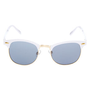 Gold Retro Browline Sunglasses - White,