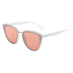 Mirrored Mod Cat Eye Sunglasses - White,