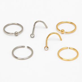 Mixed Metal Titanium 20G Crystal Ball Stud & Hoop Nose Rings - 6 Pack,