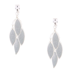 "Silver 1.5"" Glitter Chandelier Leaf Clip On Drop Earrings,"