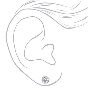 Silver Cubic Zirconia Round Vintage Stud Earrings - 8MM,