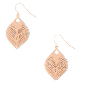 "Rose Gold 1"" Glitter Filigree Drop Earrings,"